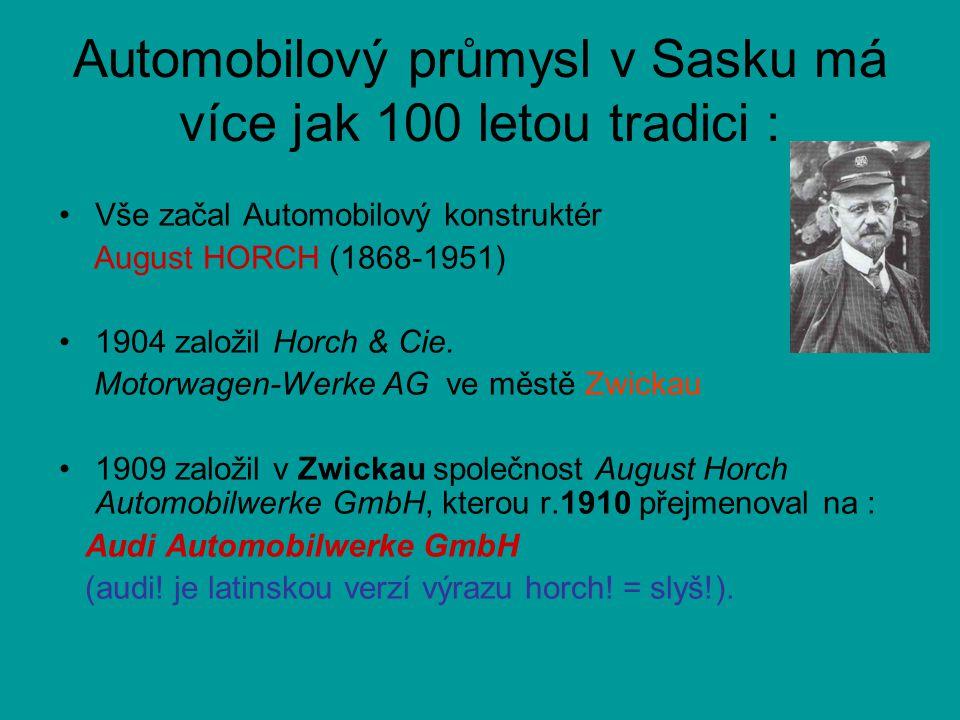 Automobilový průmysl v Sasku má více jak 100 letou tradici : •Vše začal Automobilový konstruktér August HORCH (1868-1951) •1904 založil Horch & Cie. M