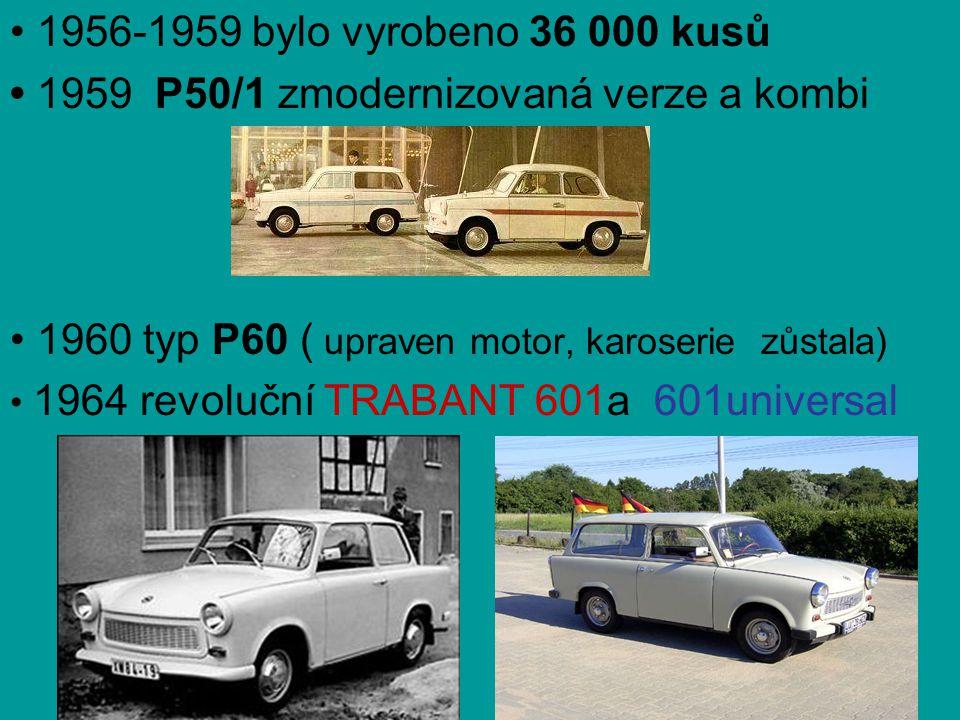 • 1956-1959 bylo vyrobeno 36 000 kusů • 1959 P50/1 zmodernizovaná verze a kombi • 1960 typ P60 ( upraven motor, karoserie zůstala) • 1964 revoluční TR