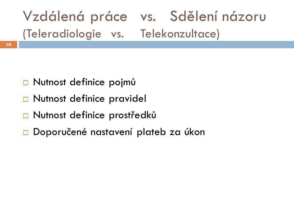 Vzdálená práce vs. Sdělení názoru (Teleradiologievs. Telekonzultace)  Nutnost definice pojmů  Nutnost definice pravidel  Nutnost definice prostředk