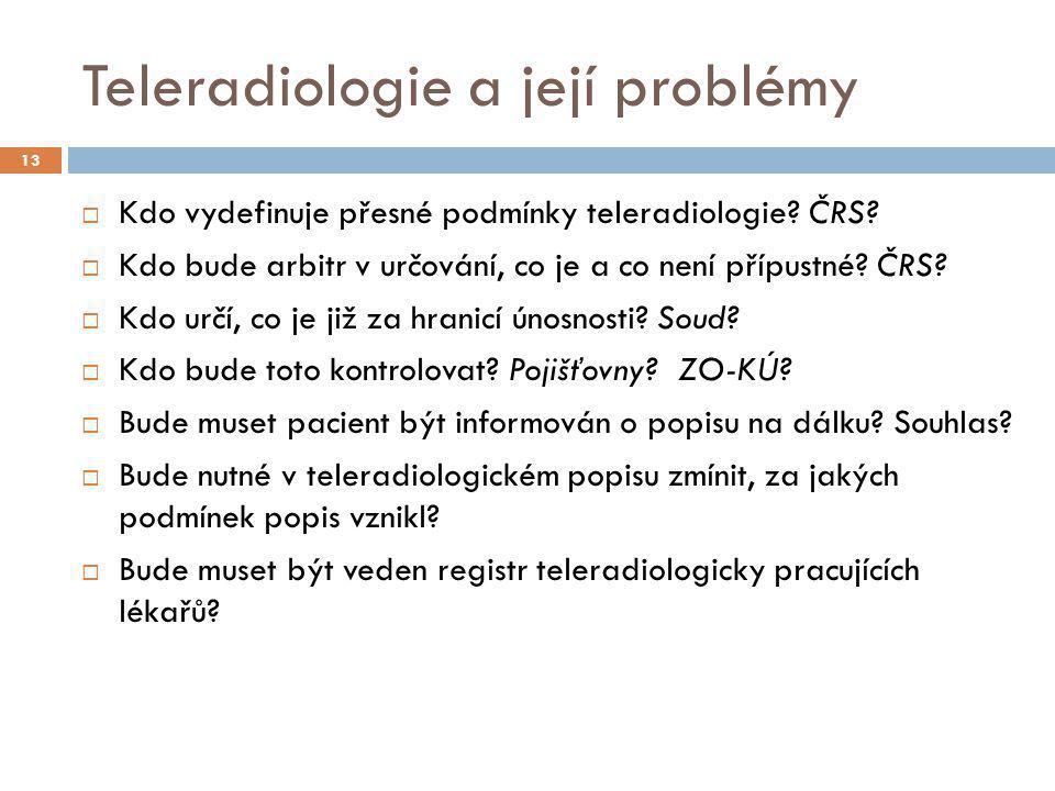 Teleradiologie a její problémy  Kdo vydefinuje přesné podmínky teleradiologie? ČRS?  Kdo bude arbitr v určování, co je a co není přípustné? ČRS?  K