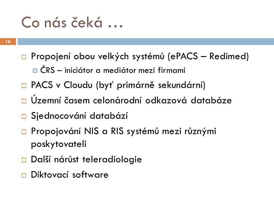 Co nás čeká …  Propojení obou velkých systémů (ePACS – Redimed)  ČRS – iniciátor a mediátor mezi firmami  PACS v Cloudu (byť primárně sekundární) 
