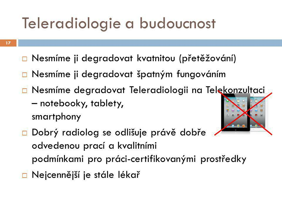 Teleradiologie a budoucnost  Nesmíme ji degradovat kvatnitou (přetěžování)  Nesmíme ji degradovat špatným fungováním  Nesmíme degradovat Teleradiol