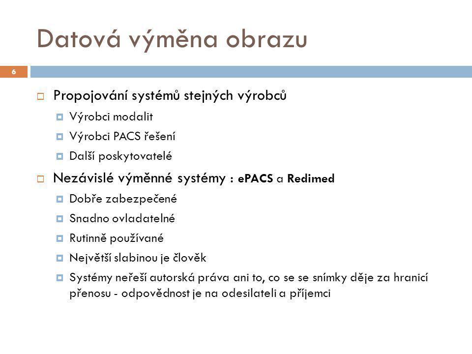 Datová výměna obrazu  Propojování systémů stejných výrobců  Výrobci modalit  Výrobci PACS řešení  Další poskytovatelé  Nezávislé výměnné systémy