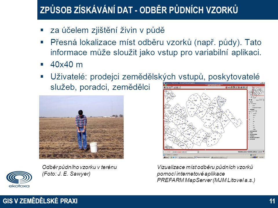 GIS V ZEMĚDĚLSKÉ PRAXI11 ZPŮSOB ZÍSKÁVÁNÍ DAT - ODBĚR PŮDNÍCH VZORKŮ  za účelem zjištění živin v půdě  Přesná lokalizace míst odběru vzorků (např. p