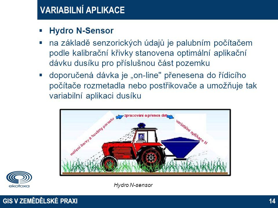 GIS V ZEMĚDĚLSKÉ PRAXI14 VARIABILNÍ APLIKACE  Hydro N-Sensor  na základě senzorických údajů je palubním počítačem podle kalibrační křivky stanovena