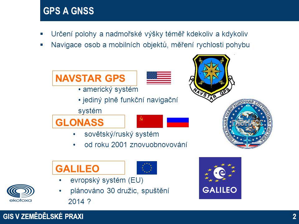 GIS V ZEMĚDĚLSKÉ PRAXI2 GPS A GNSS  Určení polohy a nadmořské výšky téměř kdekoliv a kdykoliv  Navigace osob a mobilních objektů, měření rychlosti p