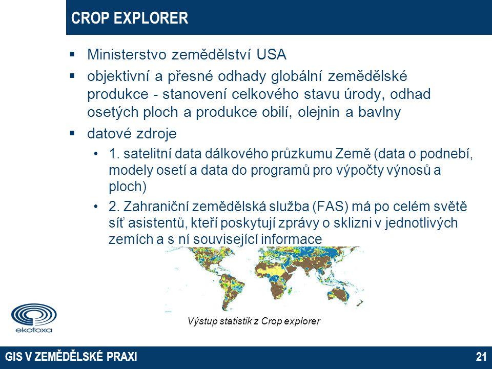 GIS V ZEMĚDĚLSKÉ PRAXI21 CROP EXPLORER  Ministerstvo zemědělství USA  objektivní a přesné odhady globální zemědělské produkce - stanovení celkového