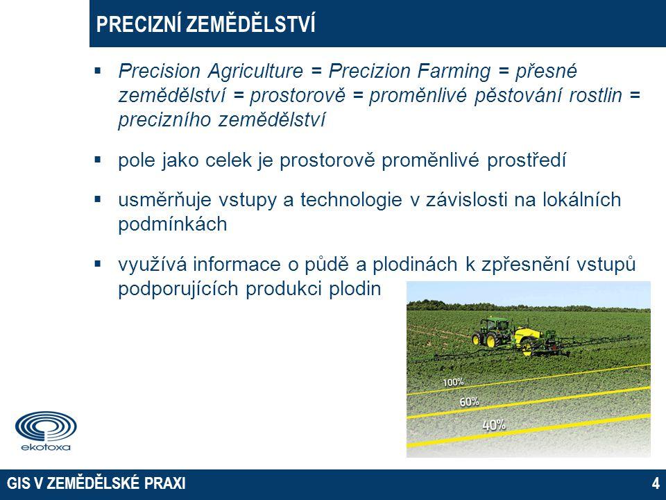 GIS V ZEMĚDĚLSKÉ PRAXI4 PRECIZNÍ ZEMĚDĚLSTVÍ  Precision Agriculture = Precizion Farming = přesné zemědělství = prostorově = proměnlivé pěstování rost
