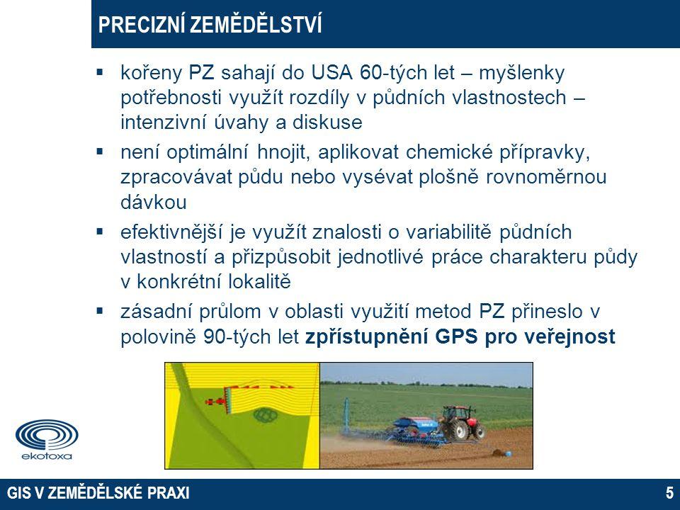GIS V ZEMĚDĚLSKÉ PRAXI16 VARIABILNÍ APLIKACE  Herbicidní ochrana  na poli uskutečněn průzkum výskytu pcháče pro variabilní herbicidní postřik  pomocí souřadnic byla vytvořena čtvercová bodová síť 18 x 18m  počet a oblasti výskytu pcháče zjišťovány na jednotlivých bodech sítě pomocí GPS  získaná data byla vyhodnocena v GISu a zakreslena do mapy pro použití variabilní aplikace herbicidů
