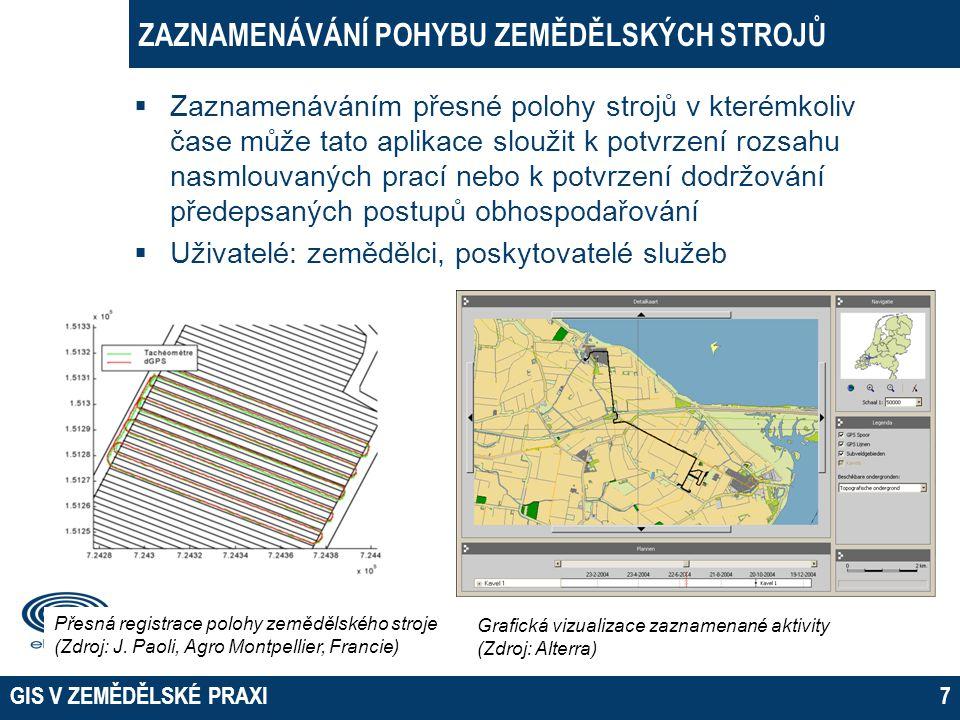 GIS V ZEMĚDĚLSKÉ PRAXI8 ZPŮSOB ZÍSKÁVÁNÍ DAT - MĚŘENÍ POZEMKŮ  Lokalizace a měření pozemků - deklarace a kontrola pozemků pro účely dotací, měření smluvně dohodnutých ploch (např.