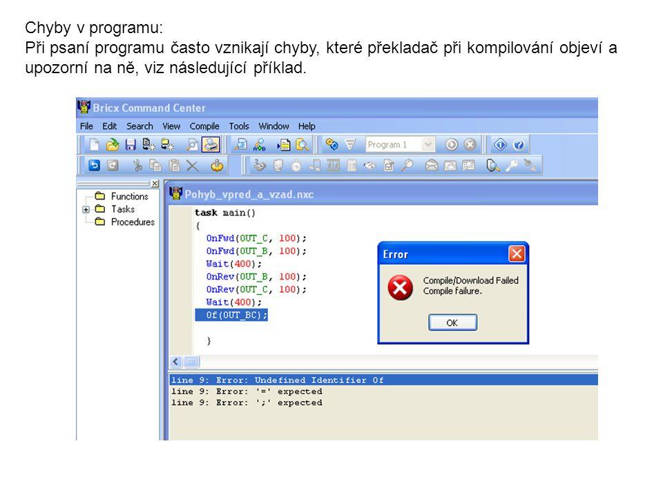 Chyby v programu: Při psaní programu často vznikají chyby, které překladač při kompilování objeví a upozorní na ně, viz následující příklad.