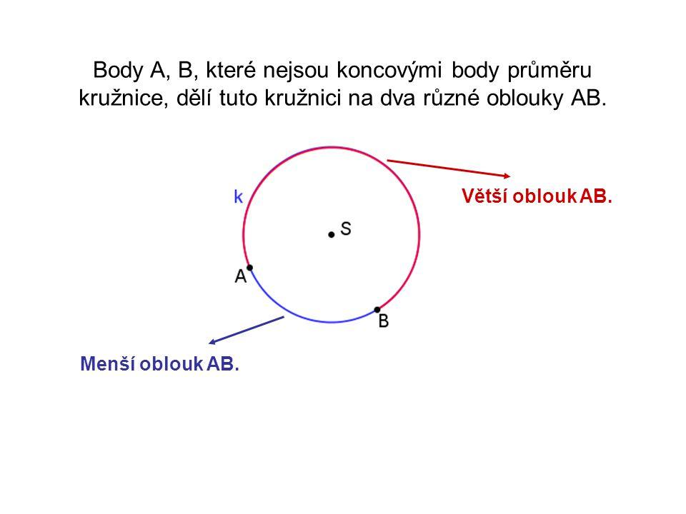Body A, B, které nejsou koncovými body průměru kružnice, dělí tuto kružnici na dva různé oblouky AB. Větší oblouk AB. Menší oblouk AB.