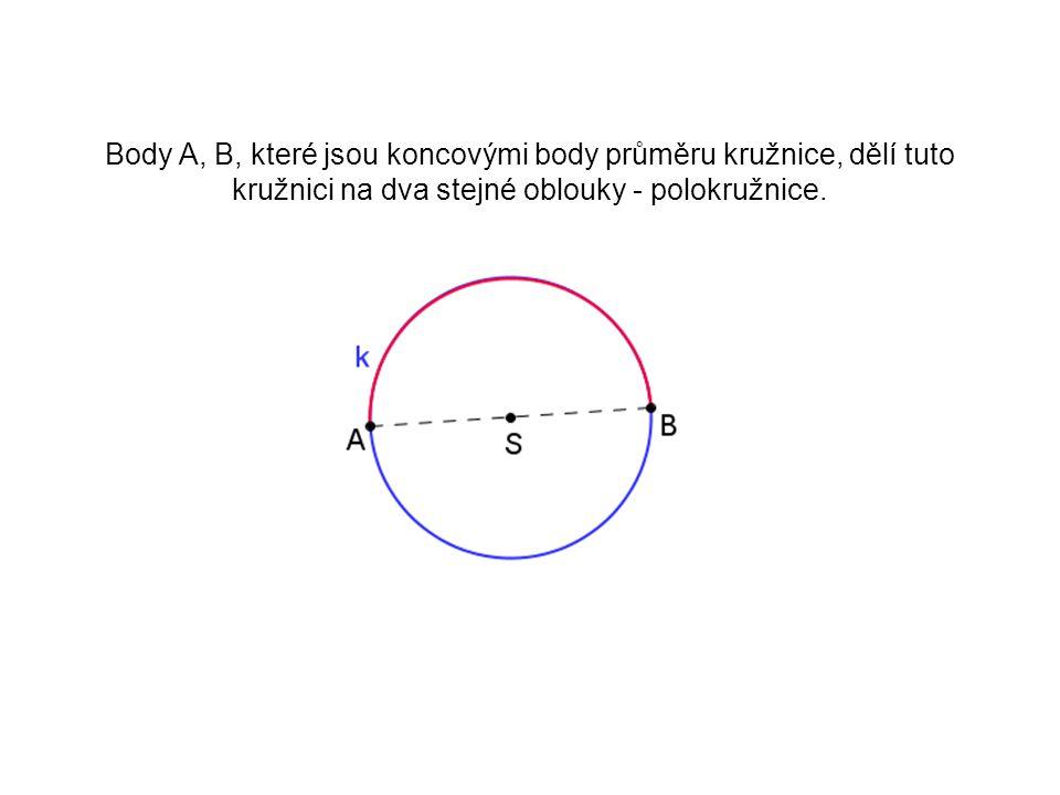 Středový úhel příslušný oblouku AB - vrchol úhlu je ve středu S; S = V - ramena úhlu procházejí body AB - oblouk v úhlu leží
