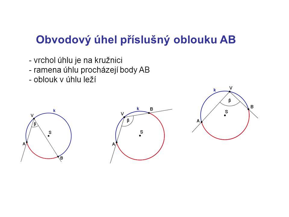 Obvodový úhel příslušný oblouku AB - vrchol úhlu je na kružnici - ramena úhlu procházejí body AB - oblouk v úhlu leží