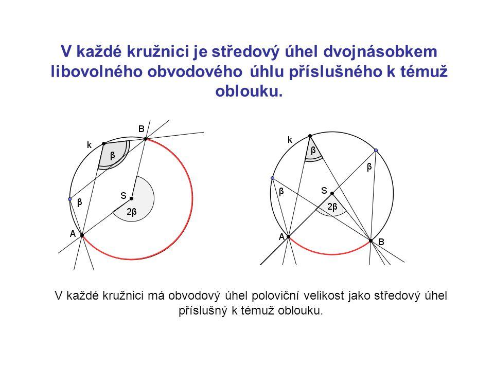 V každé kružnici je středový úhel dvojnásobkem libovolného obvodového úhlu příslušného k témuž oblouku. V každé kružnici má obvodový úhel poloviční ve
