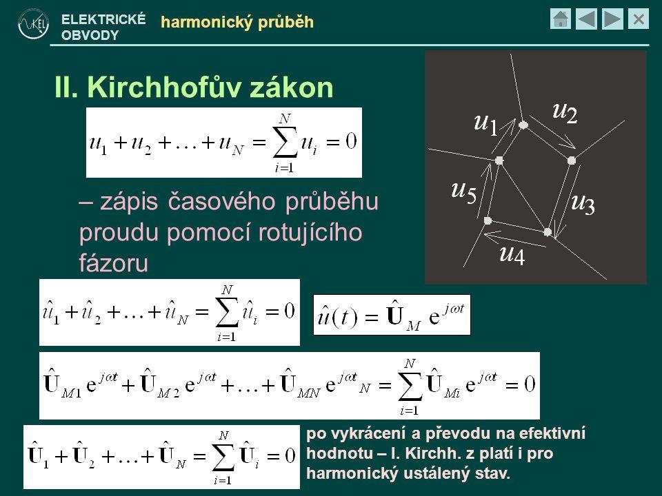 × ELEKTRICKÉ OBVODY harmonický průběh II. Kirchhofův zákon – zápis časového průběhu proudu pomocí rotujícího fázoru po vykrácení a převodu na efektivn