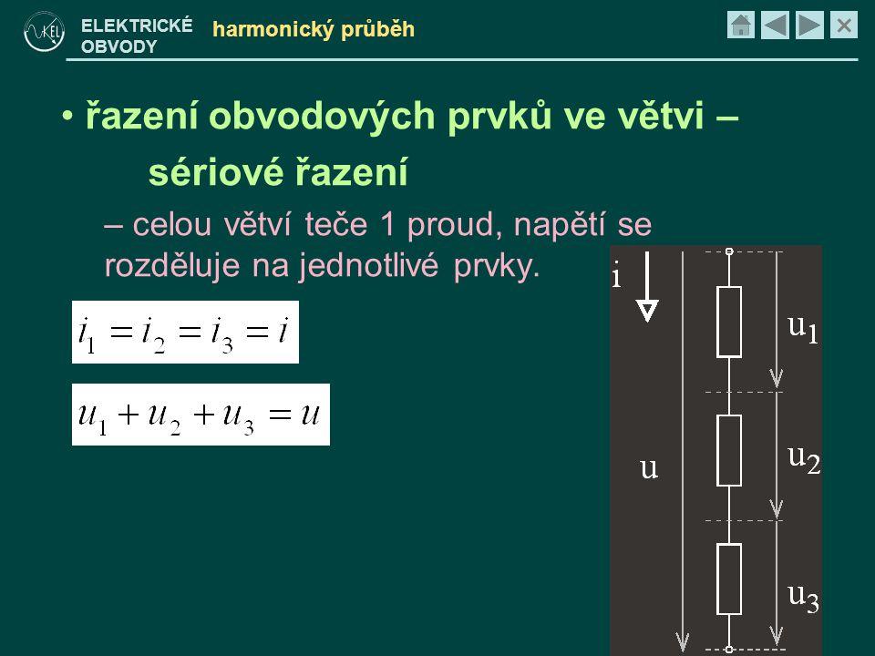 × ELEKTRICKÉ OBVODY harmonický průběh • řazení obvodových prvků ve větvi – sériové řazení – celou větví teče 1 proud, napětí se rozděluje na jednotliv