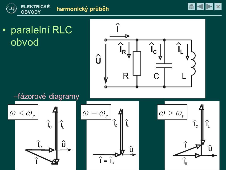 × ELEKTRICKÉ OBVODY harmonický průběh •paralelní RLC obvod –fázorové diagramy