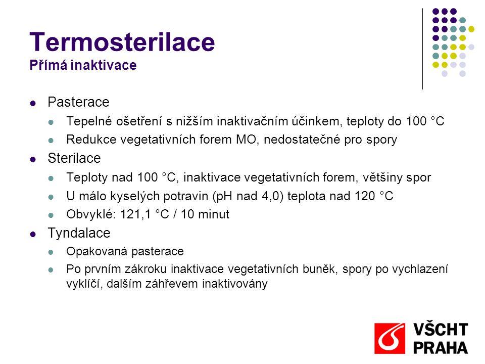 Termosterilace Přímá inaktivace  Pasterace  Tepelné ošetření s nižším inaktivačním účinkem, teploty do 100 °C  Redukce vegetativních forem MO, nedo