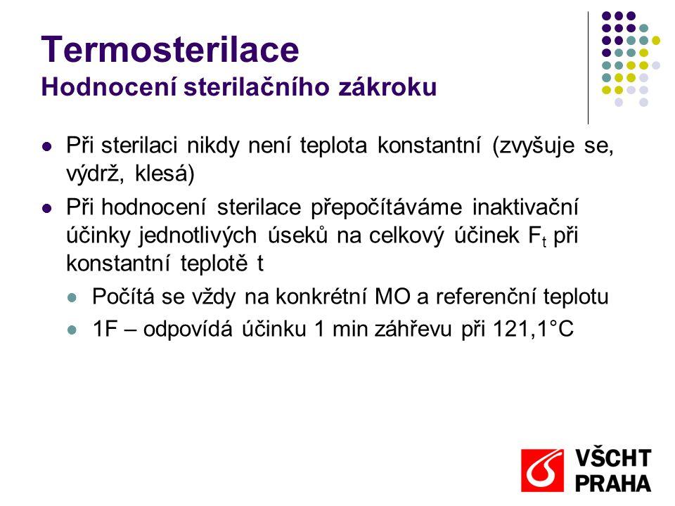 Termosterilace Hodnocení sterilačního zákroku  Při sterilaci nikdy není teplota konstantní (zvyšuje se, výdrž, klesá)  Při hodnocení sterilace přepo