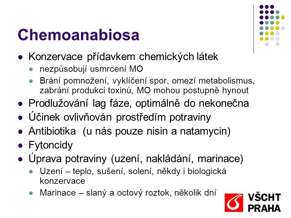 Chemoanabiosa  Konzervace přídavkem chemických látek  nezpůsobují usmrcení MO  Brání pomnožení, vyklíčení spor, omezí metabolismus, zabrání produkc