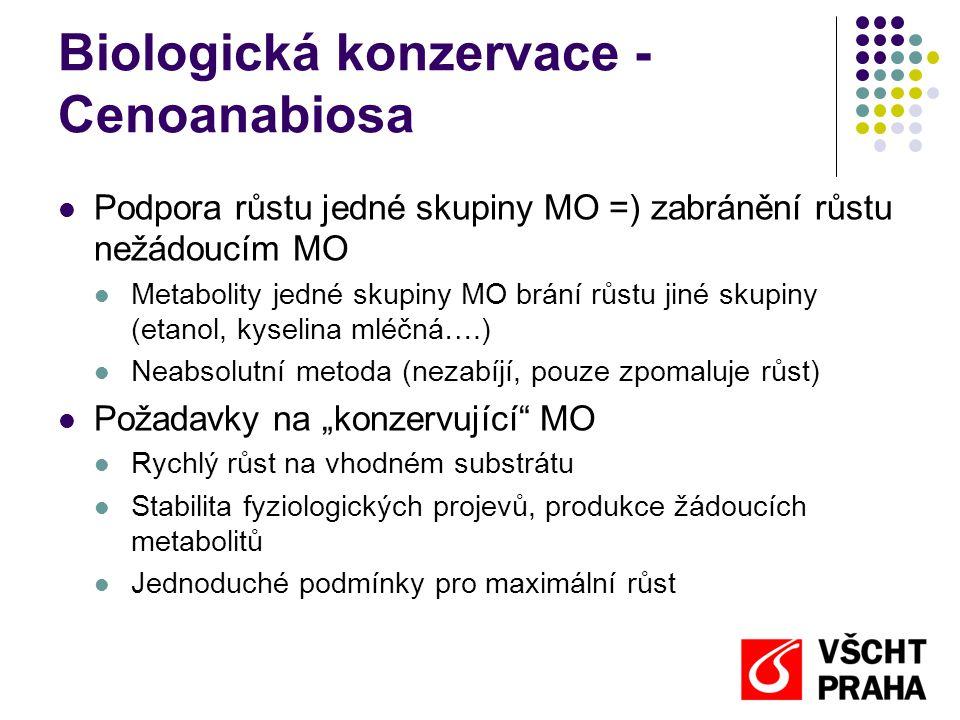 Biologická konzervace - Cenoanabiosa  Podpora růstu jedné skupiny MO =) zabránění růstu nežádoucím MO  Metabolity jedné skupiny MO brání růstu jiné