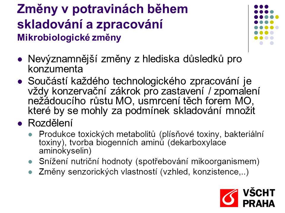 Metody úchovy potravin Přehled metod  Vylučování mikroorganismů z prostředí potraviny  Omezení kontaminace během zpracování (čistota prostorů)  Ochuzování potraviny o mikroorganismy (praní, čiření)  Vylučování mikroorganismů z potravin (filtrace, baktofugace)  Přímá inaktivace (abiosa)  Fyzikální metody  Sterilace  Konzervace zářením, ultrazvukem, vysokým hydrostatickým tlakem...