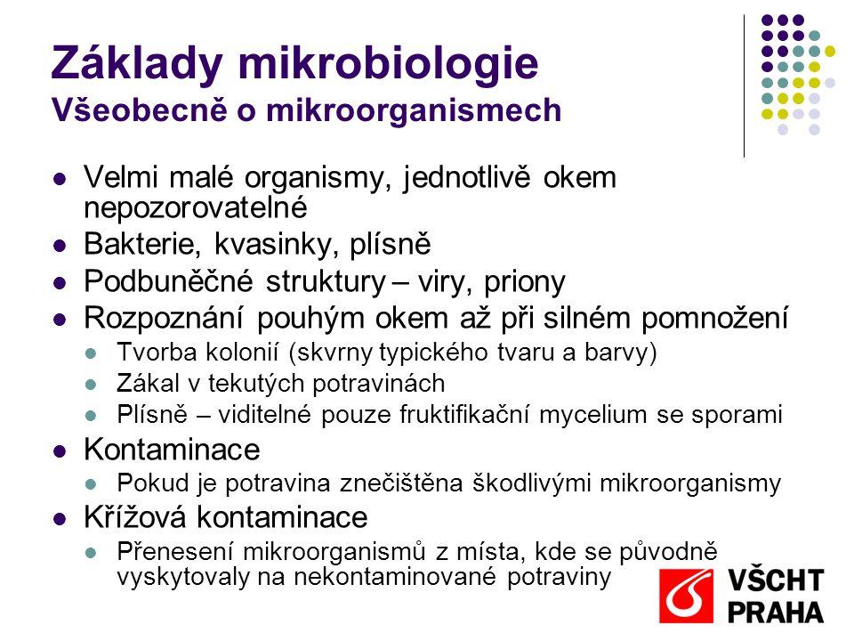 Základy mikrobiologie Všeobecně o mikroorganismech  Mikroorganismy se žádoucími účinky  Výroba potravin  Mikroorganismy s nežádoucími účinky  Kažení potravin  Obvykle ve velkém počtu  Změna vůně, barvy, konzistence potraviny  Původci onemocnění  Patogenní bakterie – bakterie schopné vyvolat onemocnění  Pro člověka škodlivé tehdy, je-li jich v potravině dostatečné množství (infekční dávka)  Většinou nezpůsobují smyslové změny potravin  Tvořící toxiny  Produkce jedovatých látek (toxinů) při množení
