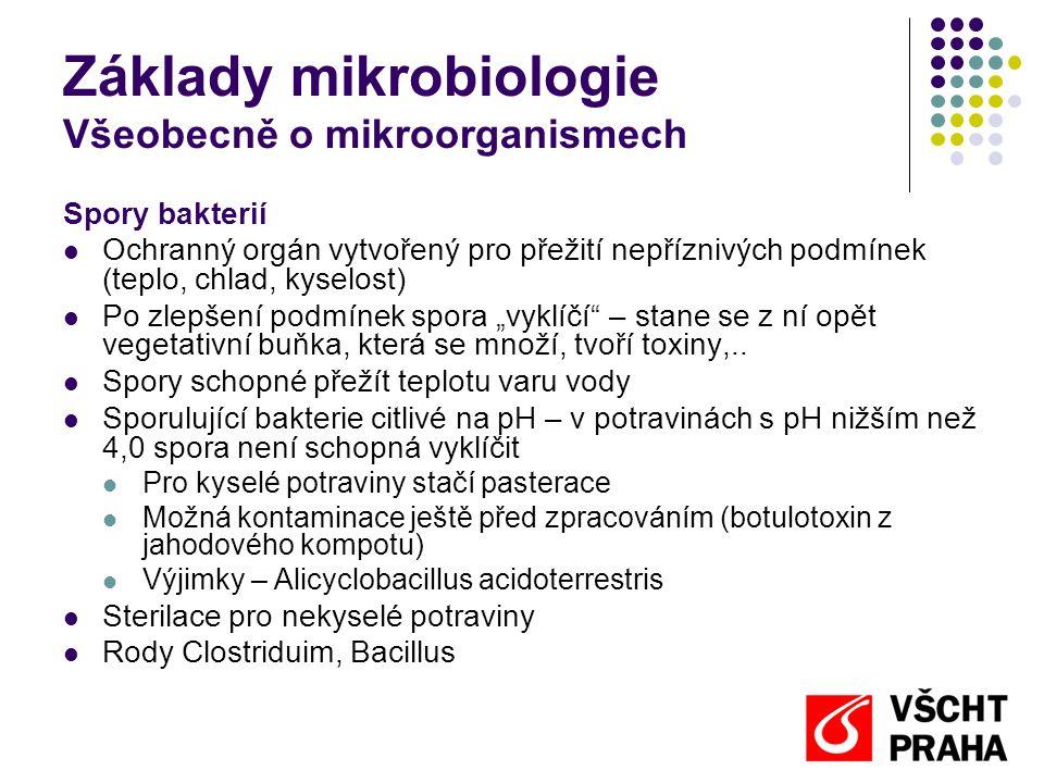 Základy mikrobiologie Všeobecně o mikroorganismech Spory bakterií  Ochranný orgán vytvořený pro přežití nepříznivých podmínek (teplo, chlad, kyselost