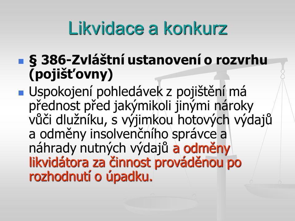 Likvidace a konkurz   § 386-Zvláštní ustanovení o rozvrhu (pojišťovny)  a odměny likvidátora za činnost prováděnou po rozhodnutí o úpadku.  Uspoko