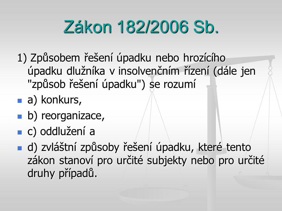 Zákon 182/2006 Sb. 1) Způsobem řešení úpadku nebo hrozícího úpadku dlužníka v insolvenčním řízení (dále jen