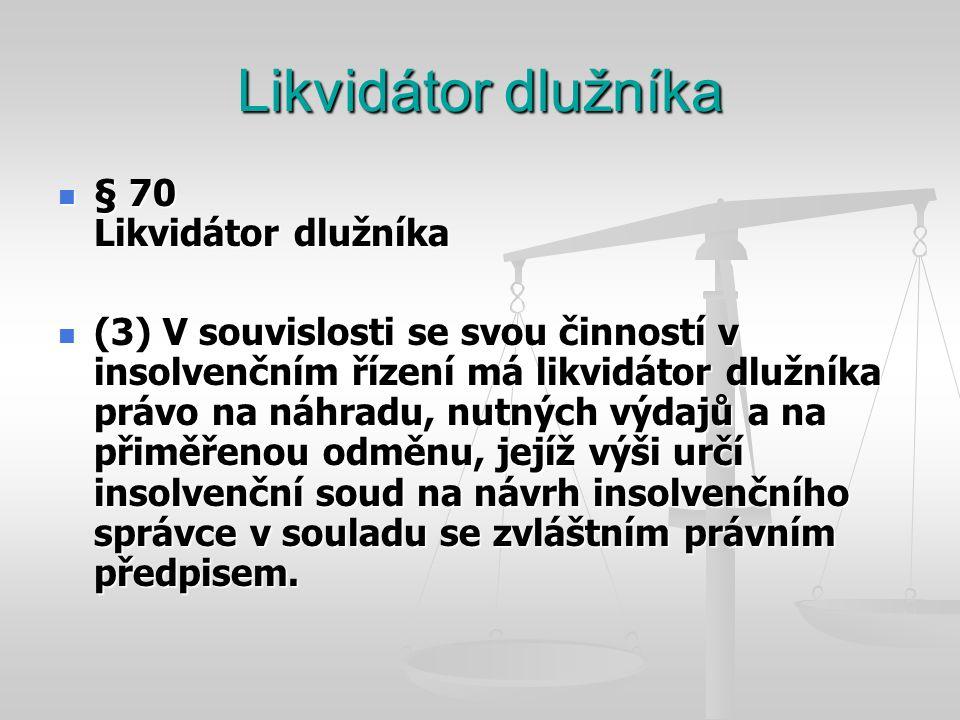 Likvidátor dlužníka  § 70 Likvidátor dlužníka  (3) V souvislosti se svou činností v insolvenčním řízení má likvidátor dlužníka právo na náhradu, nut