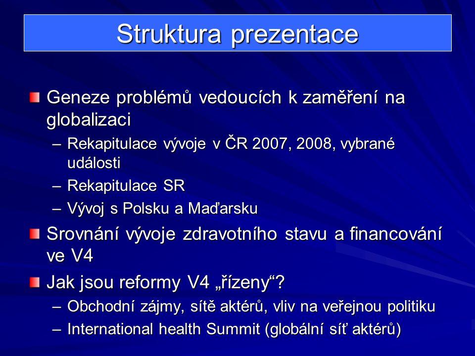Struktura prezentace Geneze problémů vedoucích k zaměření na globalizaci –Rekapitulace vývoje v ČR 2007, 2008, vybrané události –Rekapitulace SR –Vývo