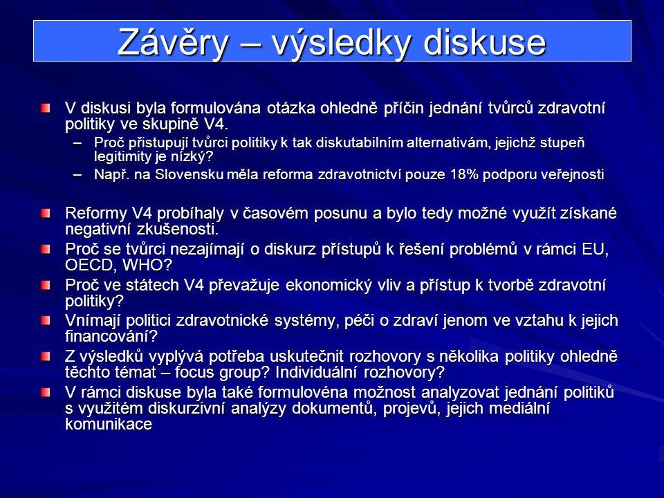 Závěry – výsledky diskuse V diskusi byla formulována otázka ohledně příčin jednání tvůrců zdravotní politiky ve skupině V4. –Proč přistupují tvůrci po