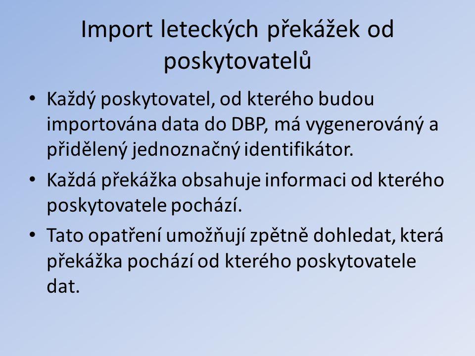 Import leteckých překážek od poskytovatelů • Každý poskytovatel, od kterého budou importována data do DBP, má vygenerováný a přidělený jednoznačný ide