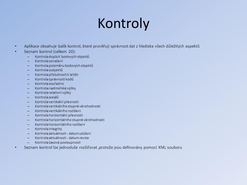 Kontroly • Aplikace obsahuje balík kontrol, které prověřují správnost dat z hlediska všech důležitých aspektů • Seznam kontrol (celkem 20): – Kontrola