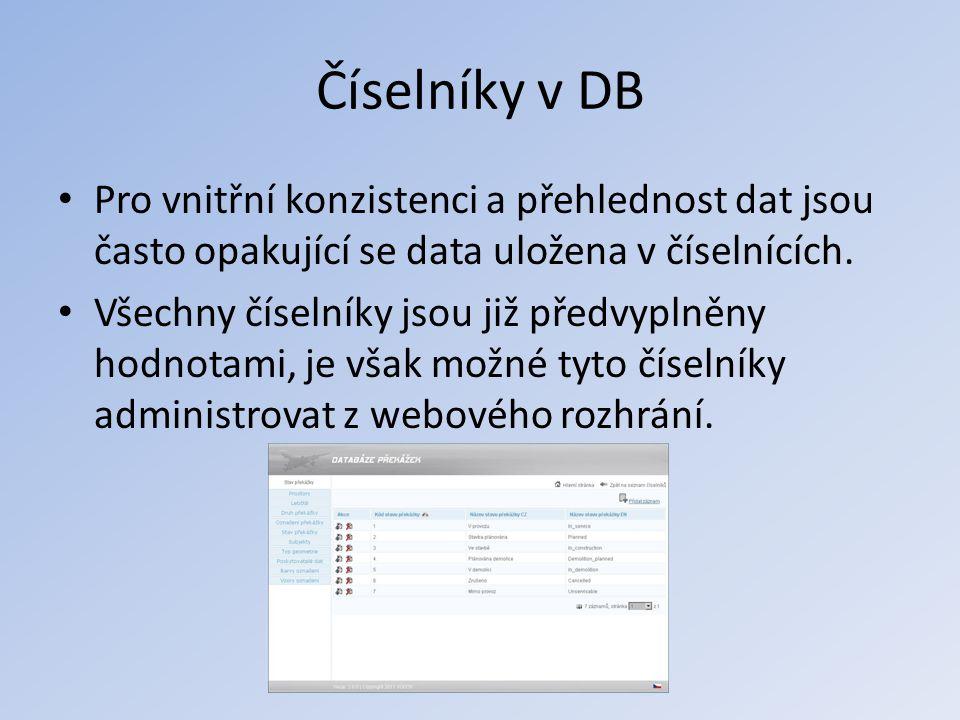 Číselníky v DB • Pro vnitřní konzistenci a přehlednost dat jsou často opakující se data uložena v číselnících. • Všechny číselníky jsou již předvyplně