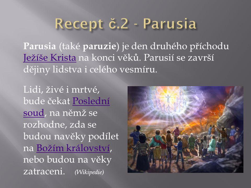 Parusia (také paruzie ) je den druhého příchodu Ježíše Krista na konci věků. Parusií se završí dějiny lidstva i celého vesmíru. Ježíše Krista Lidi, ži