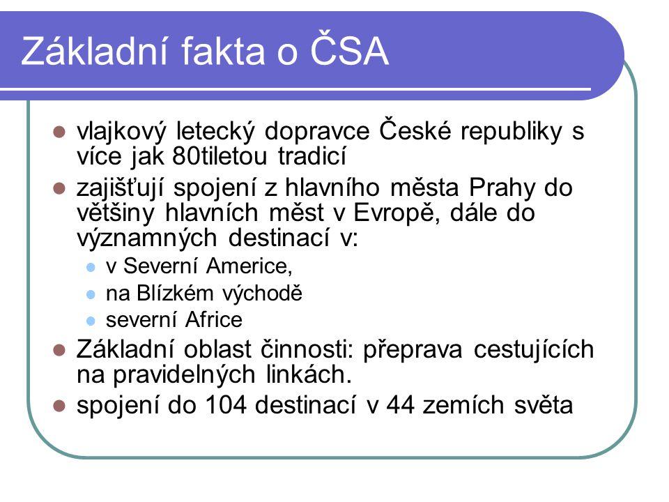 Základní fakta o ČSA  vlajkový letecký dopravce České republiky s více jak 80tiletou tradicí  zajišťují spojení z hlavního města Prahy do většiny hl
