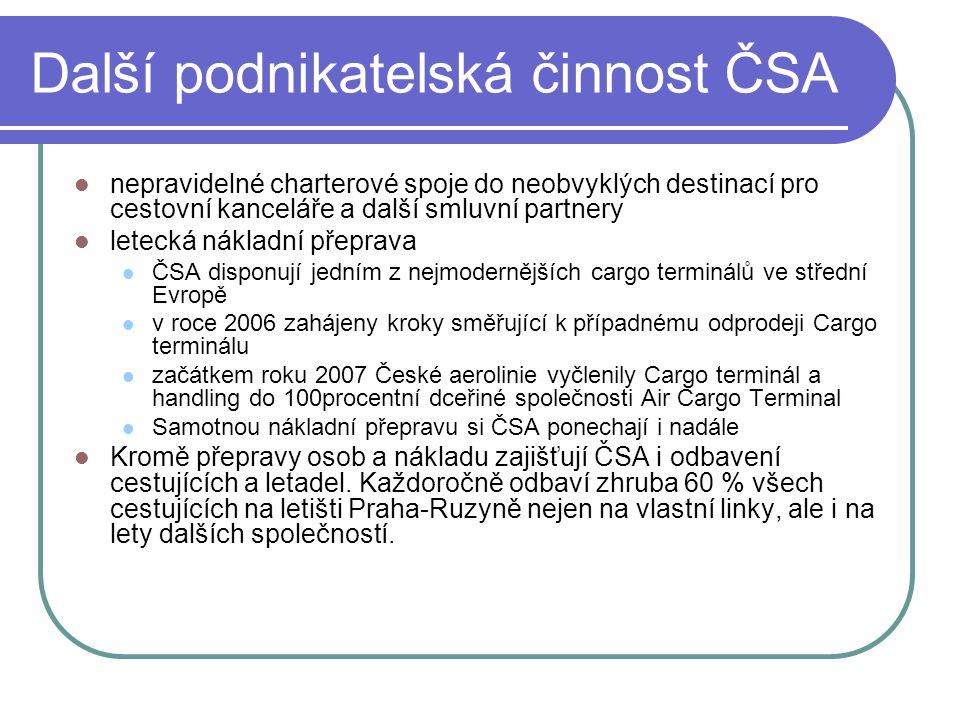 Další podnikatelská činnost ČSA  nepravidelné charterové spoje do neobvyklých destinací pro cestovní kanceláře a další smluvní partnery  letecká nák