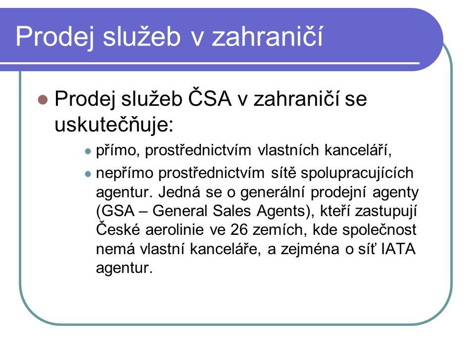 Prodej služeb v zahraničí  Prodej služeb ČSA v zahraničí se uskutečňuje:  přímo, prostřednictvím vlastních kanceláří,  nepřímo prostřednictvím sítě