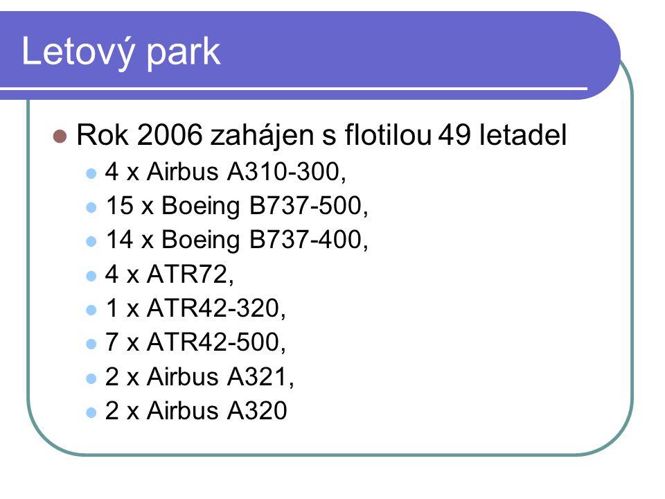 Letový park  Rok 2006 zahájen s flotilou 49 letadel  4 x Airbus A310-300,  15 x Boeing B737-500,  14 x Boeing B737-400,  4 x ATR72,  1 x ATR42-3