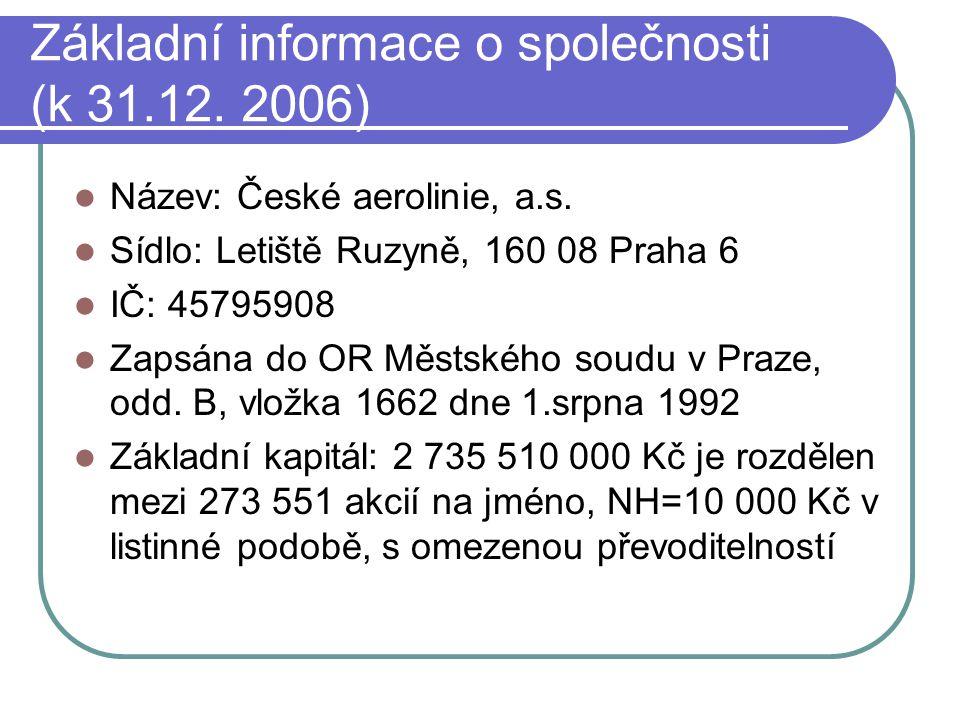 Základní informace o společnosti (k 31.12. 2006)  Název: České aerolinie, a.s.  Sídlo: Letiště Ruzyně, 160 08 Praha 6  IČ: 45795908  Zapsána do OR