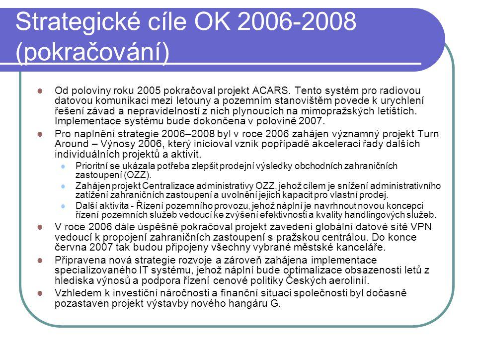 Strategické cíle OK 2006-2008 (pokračování)  Od poloviny roku 2005 pokračoval projekt ACARS. Tento systém pro radiovou datovou komunikaci mezi letoun