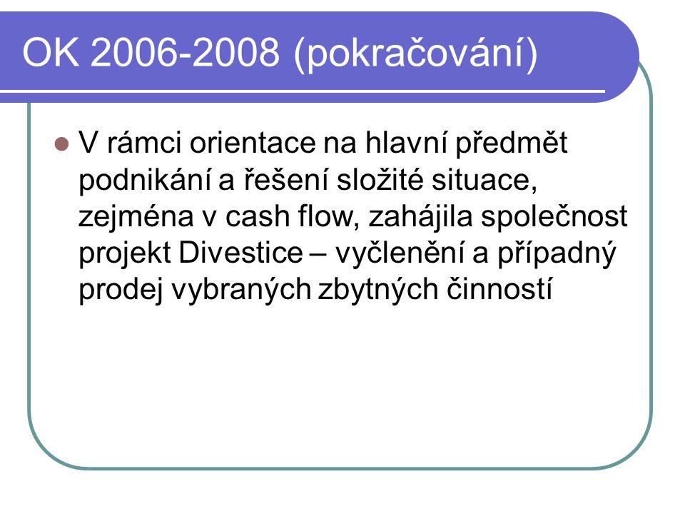 OK 2006-2008 (pokračování)  V rámci orientace na hlavní předmět podnikání a řešení složité situace, zejména v cash flow, zahájila společnost projekt