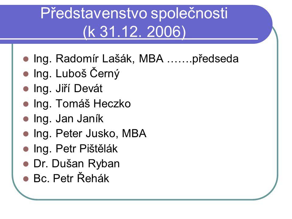 Představenstvo společnosti (k 31.12. 2006)  Ing. Radomír Lašák, MBA …….předseda  Ing. Luboš Černý  Ing. Jiří Devát  Ing. Tomáš Heczko  Ing. Jan J
