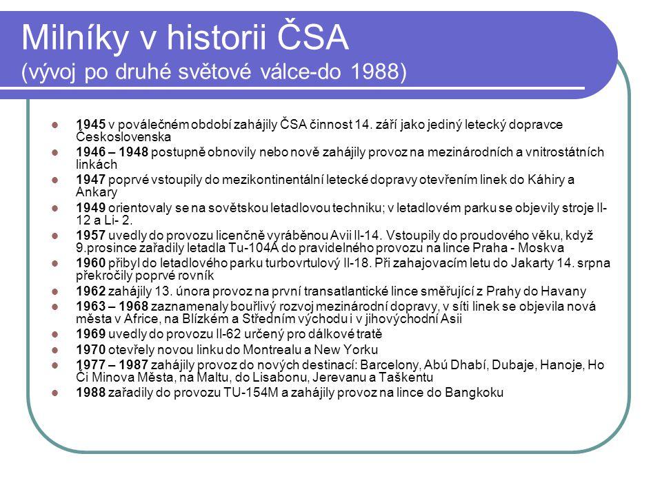 Milníky v historii ČSA (vývoj po druhé světové válce-do 1988)  1945 v poválečném období zahájily ČSA činnost 14. září jako jediný letecký dopravce Če