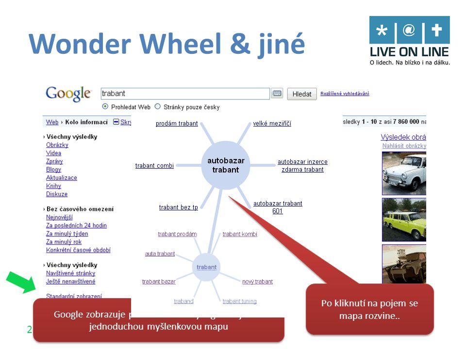 23 / 30 Wonder Wheel & jiné Google zobrazuje příbuzné termíny a generuje tak jednoduchou myšlenkovou mapu Po kliknutí na pojem se mapa rozvine..