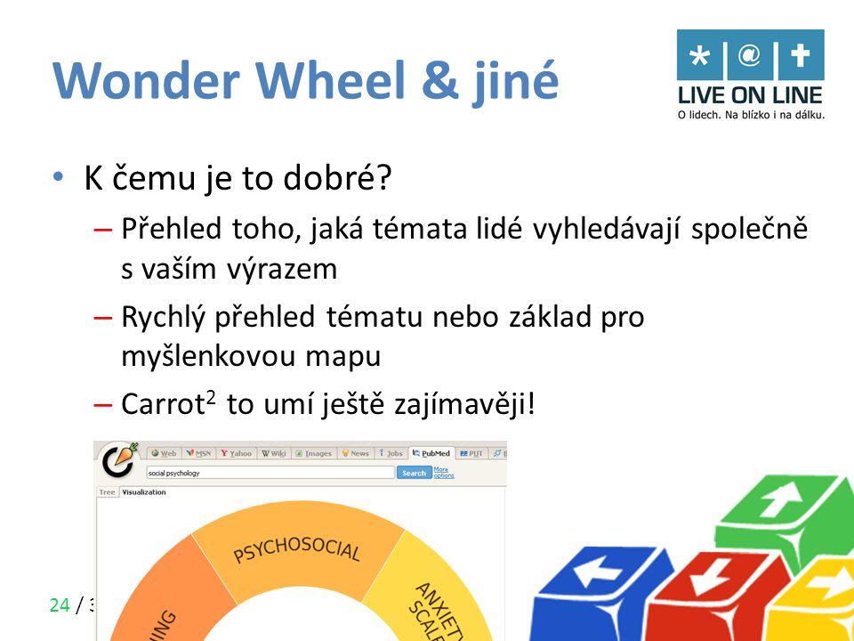 24 / 30 Wonder Wheel & jiné • K čemu je to dobré? – Přehled toho, jaká témata lidé vyhledávají společně s vaším výrazem – Rychlý přehled tématu nebo z