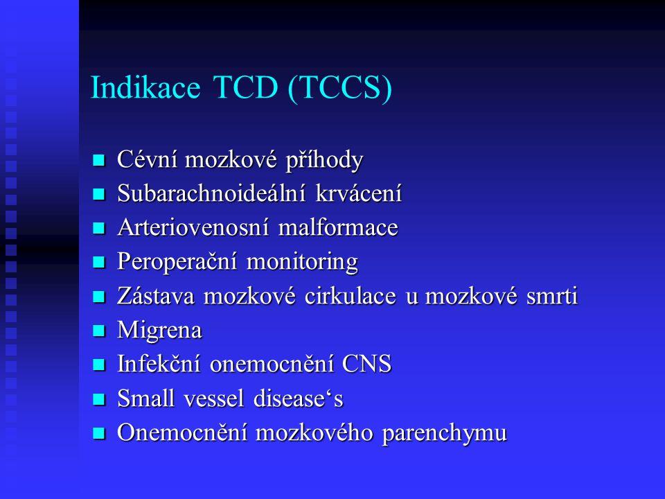 Indikace TCD (TCCS)  Cévní mozkové příhody  Subarachnoideální krvácení  Arteriovenosní malformace  Peroperační monitoring  Zástava mozkové cirkulace u mozkové smrti  Migrena  Infekční onemocnění CNS  Small vessel disease's  Onemocnění mozkového parenchymu